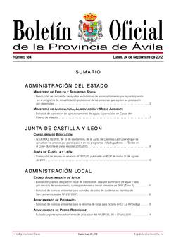 Boletín Oficial de la Provincia del lunes, 24 de septiembre de 2012