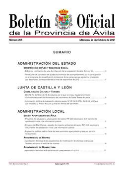 Boletín Oficial de la Provincia del miércoles, 24 de octubre de 2012