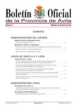 Boletín Oficial de la Provincia del miércoles, 25 de enero de 2012