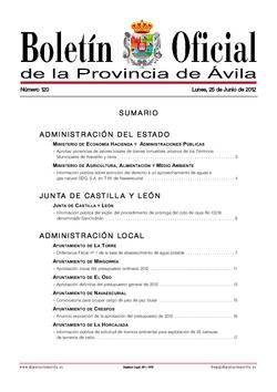 Boletín Oficial de la Provincia del lunes, 25 de junio de 2012