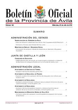 Boletín Oficial de la Provincia del miércoles, 25 de julio de 2012