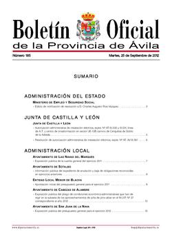 Boletín Oficial de la Provincia del martes, 25 de septiembre de 2012
