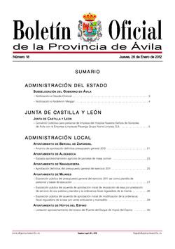 Boletín Oficial de la Provincia del jueves, 26 de enero de 2012