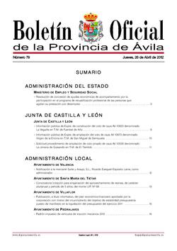 Boletín Oficial de la Provincia del jueves, 26 de abril de 2012