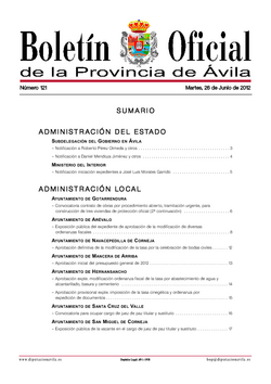 Boletín Oficial de la Provincia del martes, 26 de junio de 2012