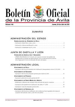 Boletín Oficial de la Provincia del jueves, 26 de julio de 2012