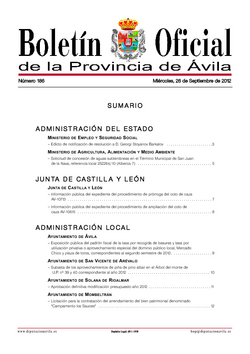 Boletín Oficial de la Provincia del miércoles, 26 de septiembre de 2012