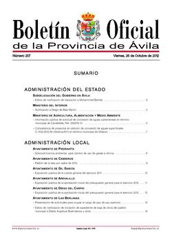 Boletín Oficial de la Provincia del viernes, 26 de octubre de 2012