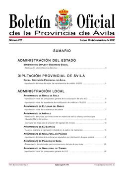 Boletín Oficial de la Provincia del lunes, 26 de noviembre de 2012