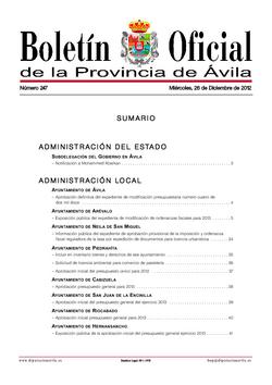 Boletín Oficial de la Provincia del miércoles, 26 de diciembre de 2012