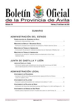 Boletín Oficial de la Provincia del viernes, 27 de enero de 2012