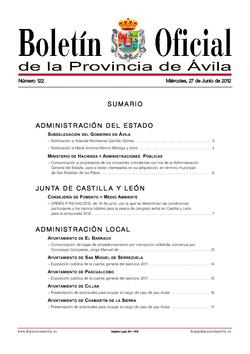 Boletín Oficial de la Provincia del miércoles, 27 de junio de 2012