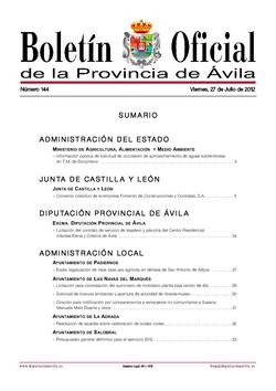Boletín Oficial de la Provincia del viernes, 27 de julio de 2012