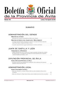 Boletín Oficial de la Provincia del lunes, 27 de agosto de 2012