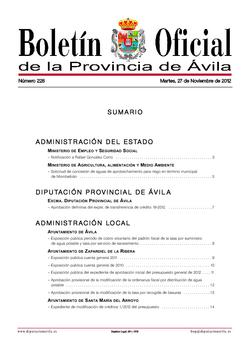 Boletín Oficial de la Provincia del martes, 27 de noviembre de 2012