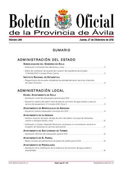 Boletín Oficial de la Provincia del jueves, 27 de diciembre de 2012