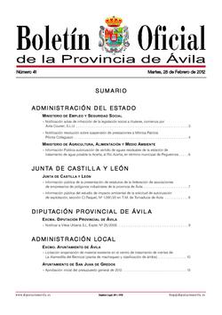 Boletín Oficial de la Provincia del martes, 28 de febrero de 2012