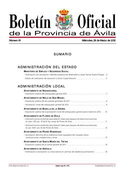Boletín Oficial de la Provincia del miércoles, 28 de marzo de 2012
