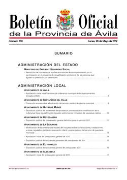 Boletín Oficial de la Provincia del lunes, 28 de mayo de 2012