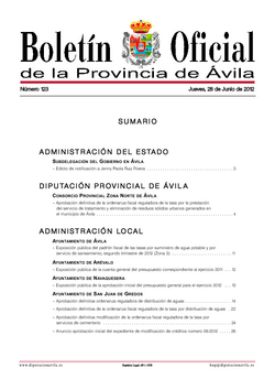 Boletín Oficial de la Provincia del jueves, 28 de junio de 2012