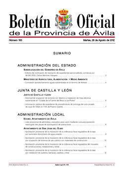 Boletín Oficial de la Provincia del martes, 28 de agosto de 2012