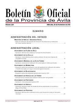 Boletín Oficial de la Provincia del miércoles, 28 de noviembre de 2012