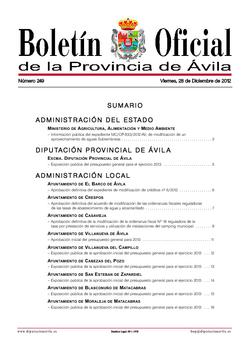 Boletín Oficial de la Provincia del viernes, 28 de diciembre de 2012
