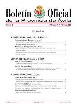 Boletín Oficial de la Provincia del miércoles, 29 de febrero de 2012