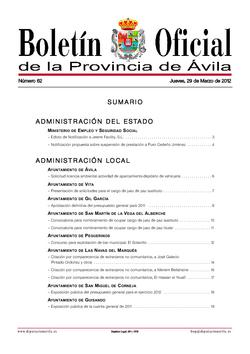 Boletín Oficial de la Provincia del jueves, 29 de marzo de 2012