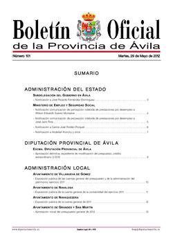 Boletín Oficial de la Provincia del martes, 29 de mayo de 2012