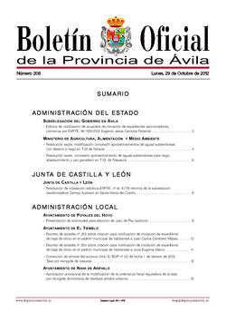 Boletín Oficial de la Provincia del lunes, 29 de octubre de 2012
