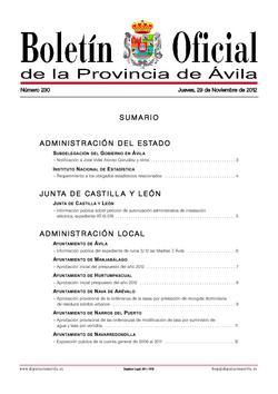Boletín Oficial de la Provincia del jueves, 29 de noviembre de 2012