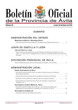 Boletín Oficial de la Provincia del lunes, 30 de enero de 2012