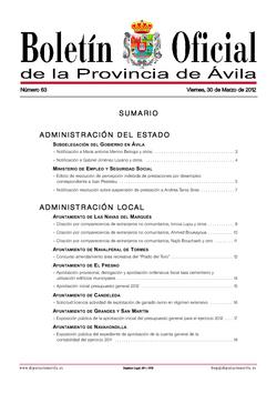 Boletín Oficial de la Provincia del viernes, 30 de marzo de 2012