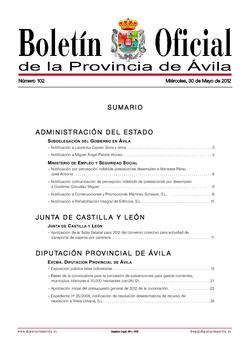 Boletín Oficial de la Provincia del miércoles, 30 de mayo de 2012