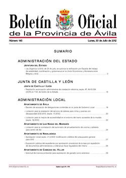 Boletín Oficial de la Provincia del lunes, 30 de julio de 2012
