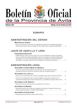Boletín Oficial de la Provincia del martes, 30 de octubre de 2012