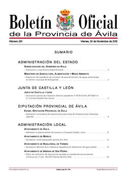 Boletín Oficial de la Provincia del viernes, 30 de noviembre de 2012