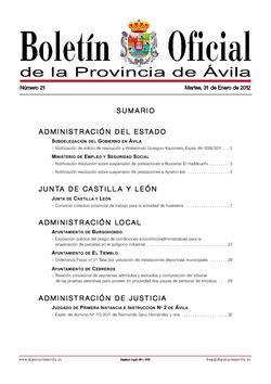 Boletín Oficial de la Provincia del martes, 31 de enero de 2012