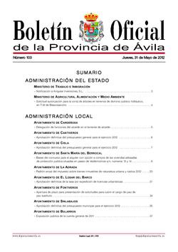 Boletín Oficial de la Provincia del jueves, 31 de mayo de 2012