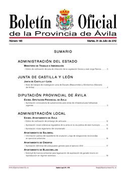 Boletín Oficial de la Provincia del martes, 31 de julio de 2012