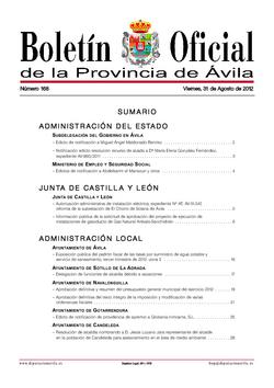 Boletín Oficial de la Provincia del viernes, 31 de agosto de 2012