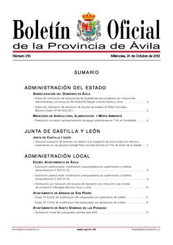 Boletín Oficial de la Provincia del miércoles, 31 de octubre de 2012