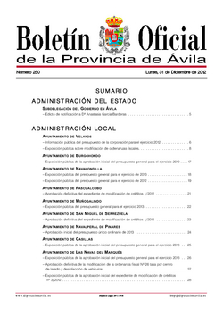Boletín Oficial de la Provincia del lunes, 31 de diciembre de 2012