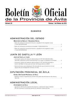 Boletín Oficial de la Provincia del viernes, 1 de febrero de 2013