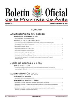 Boletín Oficial de la Provincia del viernes, 1 de marzo de 2013