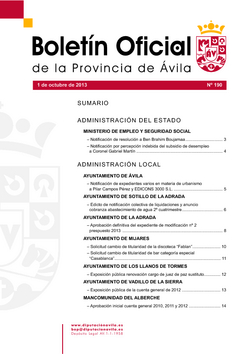 Boletín Oficial de la Provincia del martes, 1 de octubre de 2013
