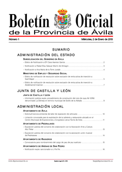 Boletín Oficial de la Provincia del miércoles, 2 de enero de 2013