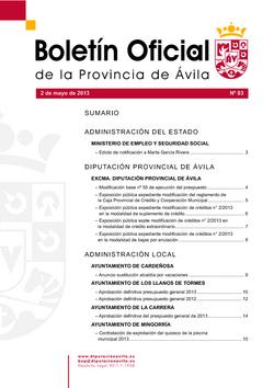 Boletín Oficial de la Provincia del jueves, 2 de mayo de 2013