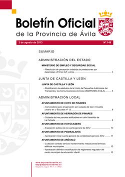 Boletín Oficial de la Provincia del viernes, 2 de agosto de 2013